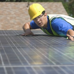 Engineer fitting solar panels
